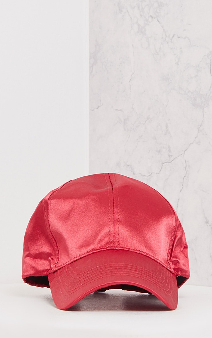 Weslyn Red Satin Baseball Cap 2