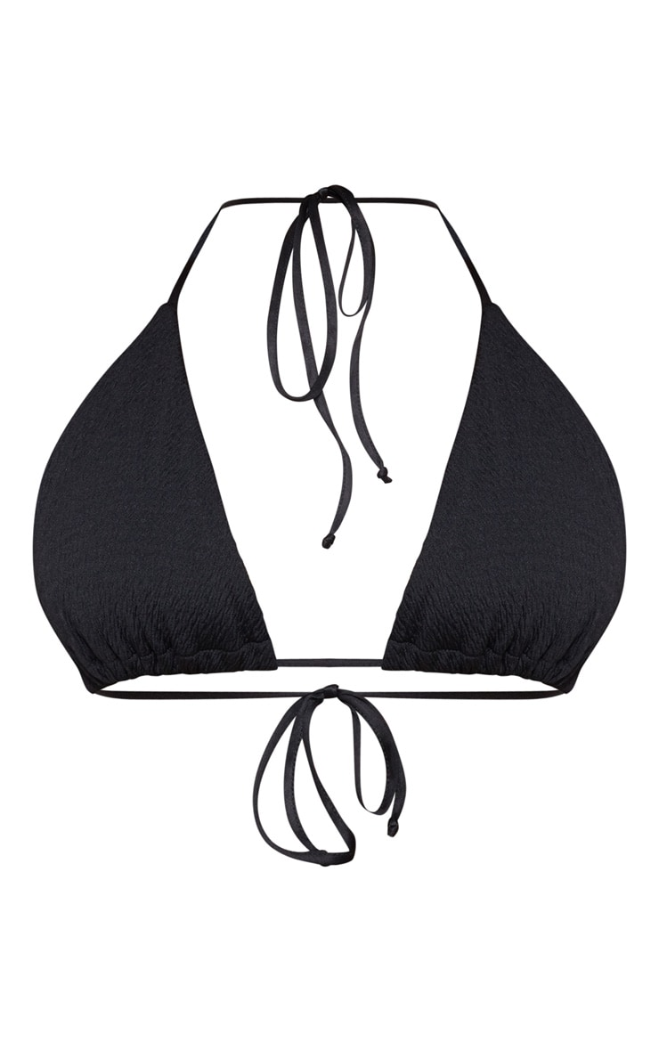 Plus Black Crinkle Triangle Bikini Top 3