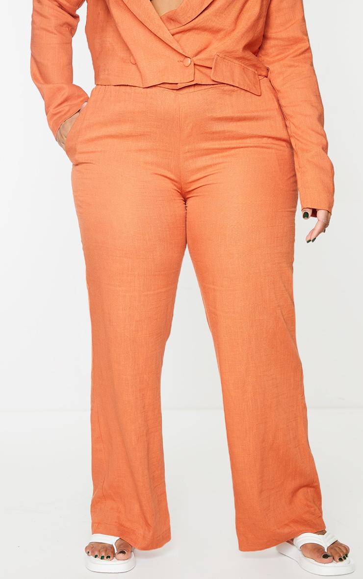 Plus Burnt Orange Elasticated Waist Wide Leg Pants 2