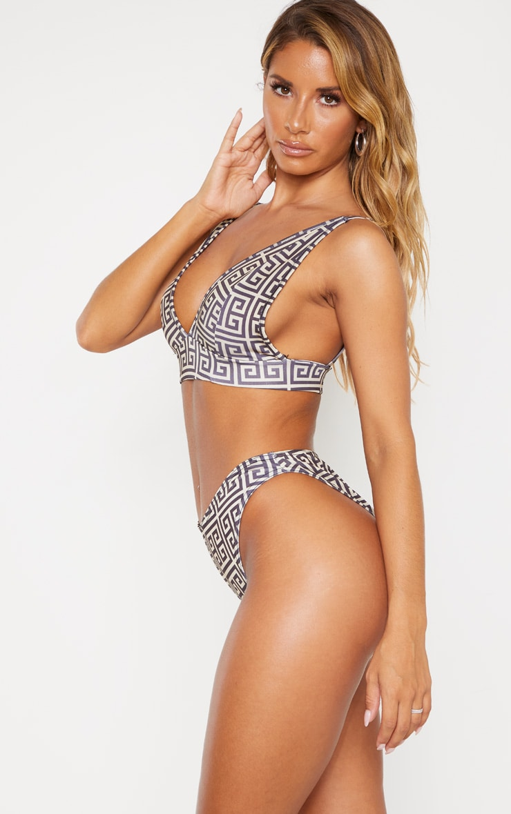 Cream Greek Key V Front Brazilian Bikini Bottom 2
