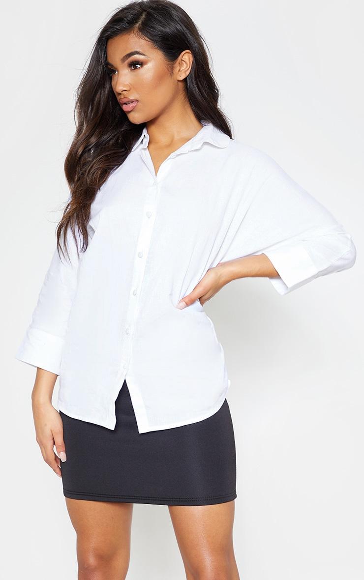 White Linen Oversized Shirt 1
