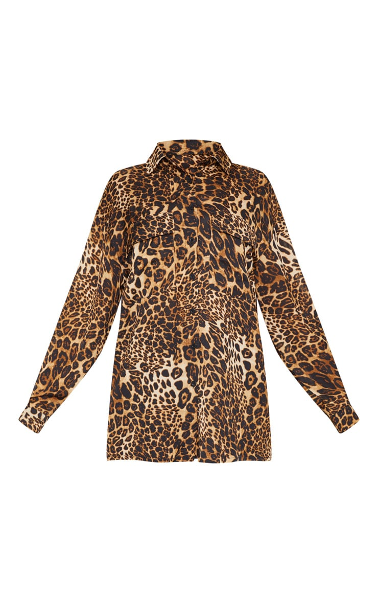 Plus Brown Leopard Print Pocket Detail Oversized Shirt 3