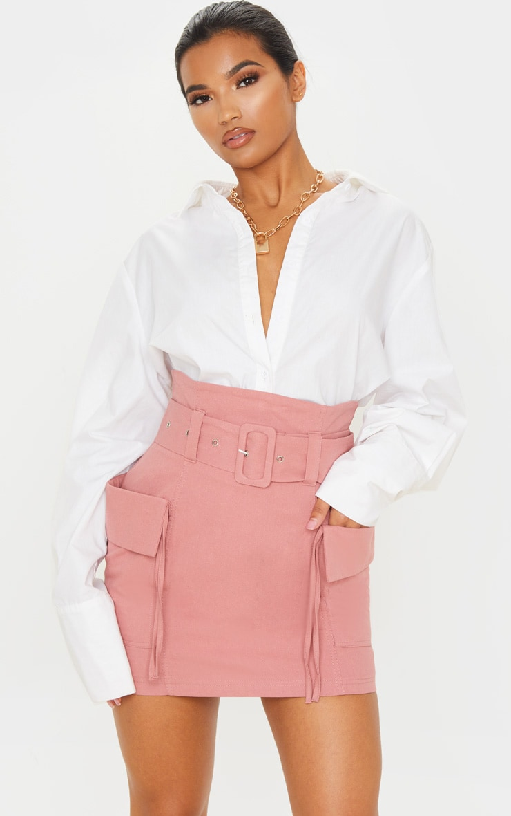 Dusty Rose Belted Pocket Detail Cargo Mini Skirt 5
