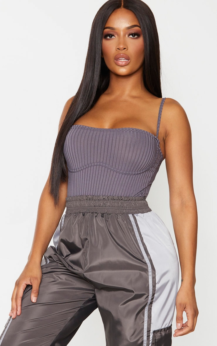 Shape Charcoal Rib Underbust Detail Strappy Bodysuit 1