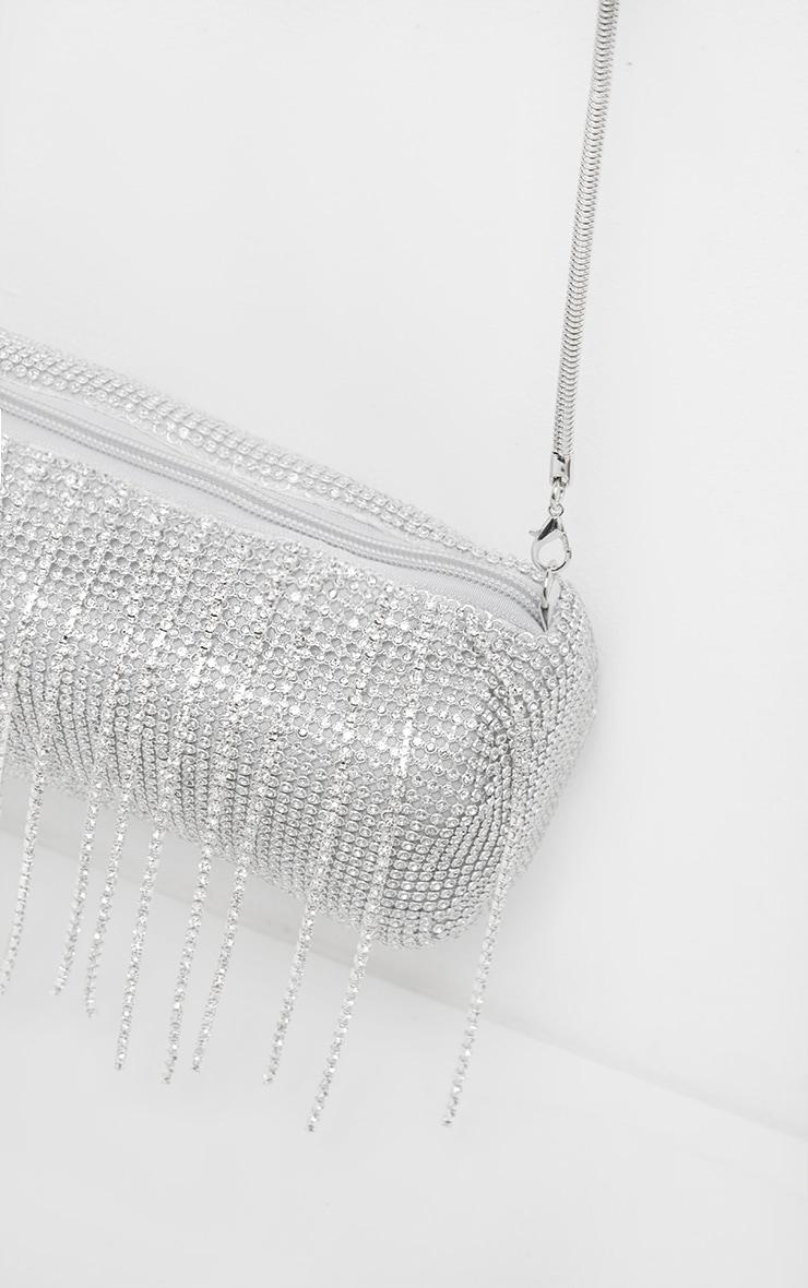 Silver All Over Diamante and Tassel Barrel Bag      3