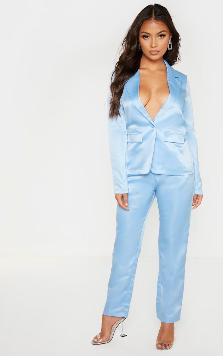 Petite - Pantalon skinny style tailleur bleu cendré  1