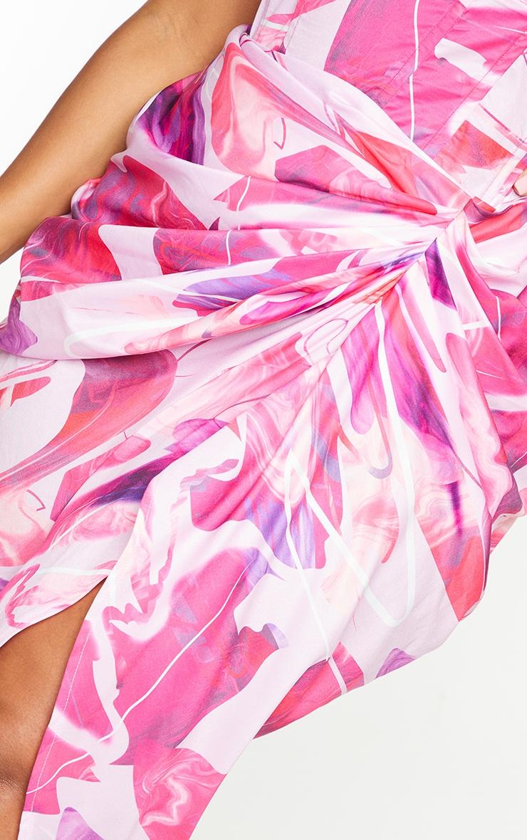 PLT Plus - Jupe mi-longue rose à côté froncé 4