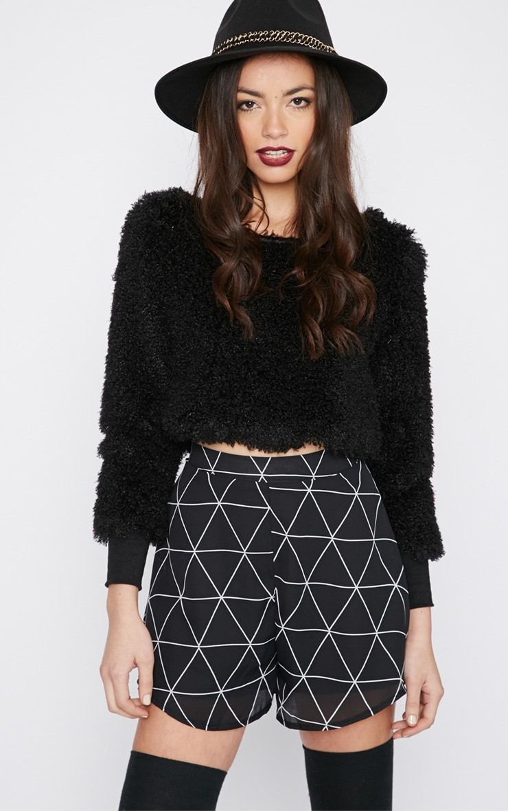 Monia Black Faux Fur Cropped Jumper  3