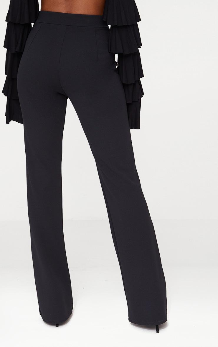 Black Military High Waist Button Wide Leg Trousers 4