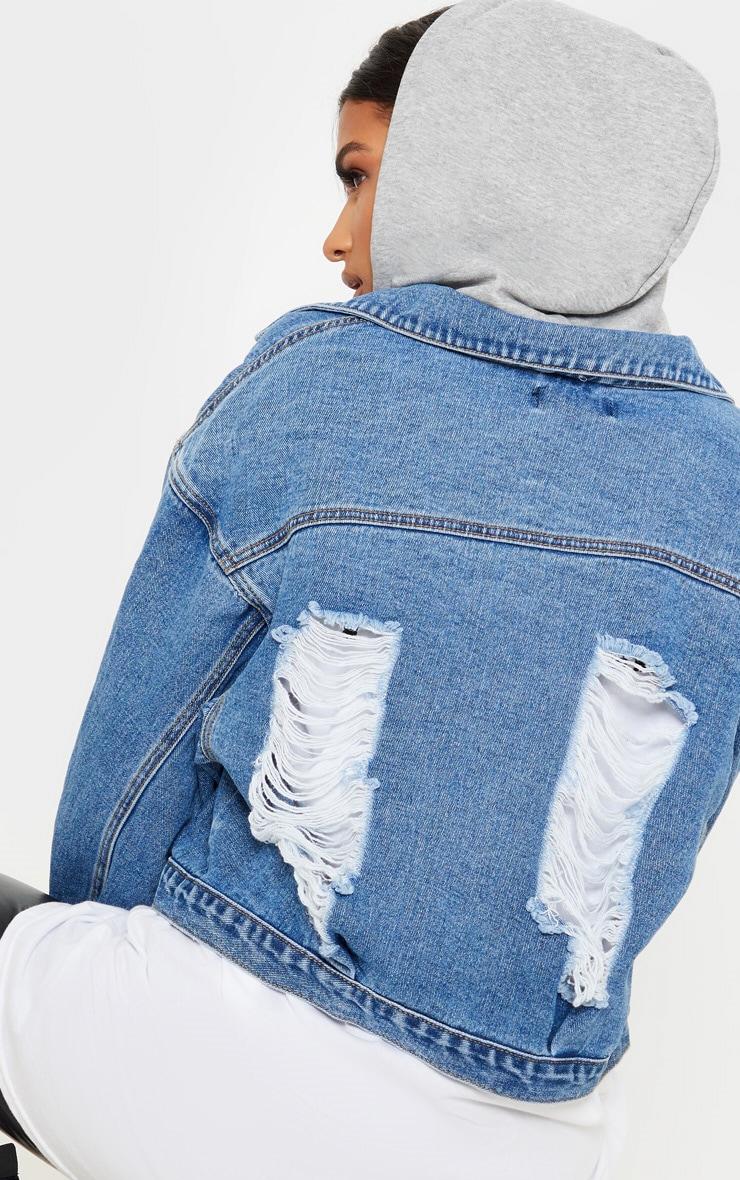 Veste en jean oversize bleu moyennement délavé à capuche 5