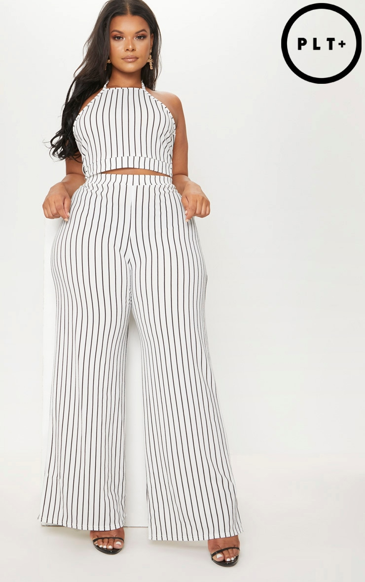 Plus White Stripe Crepe Wide Leg Trousers by Prettylittlething