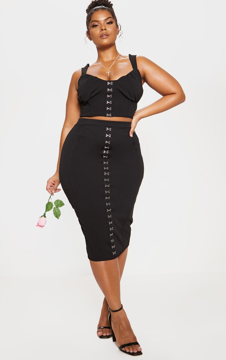 Black Piped Detail Hook & Eye Midi Skirt
