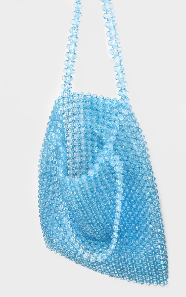 Blue Beaded Tote Bag 3
