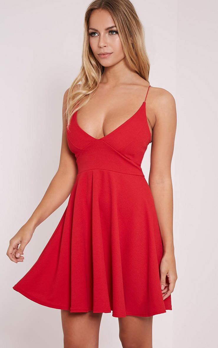 Luccie Red Crepe Skater Dress 3