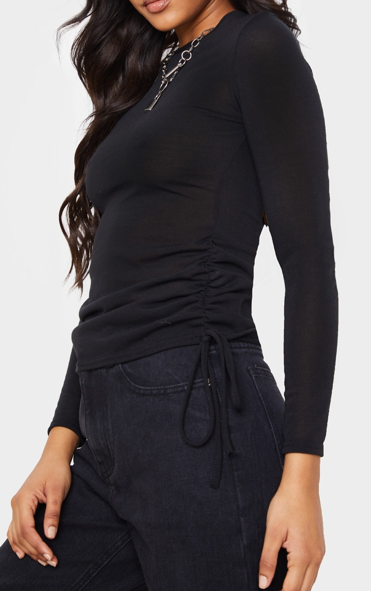 Black Cotton Ruched Side Long Sleeve Top 4