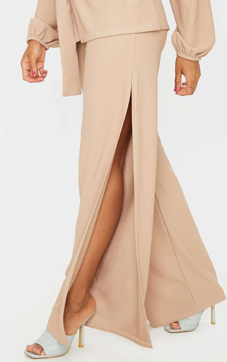 Taupe Wide Rib Split Side Trousers 2