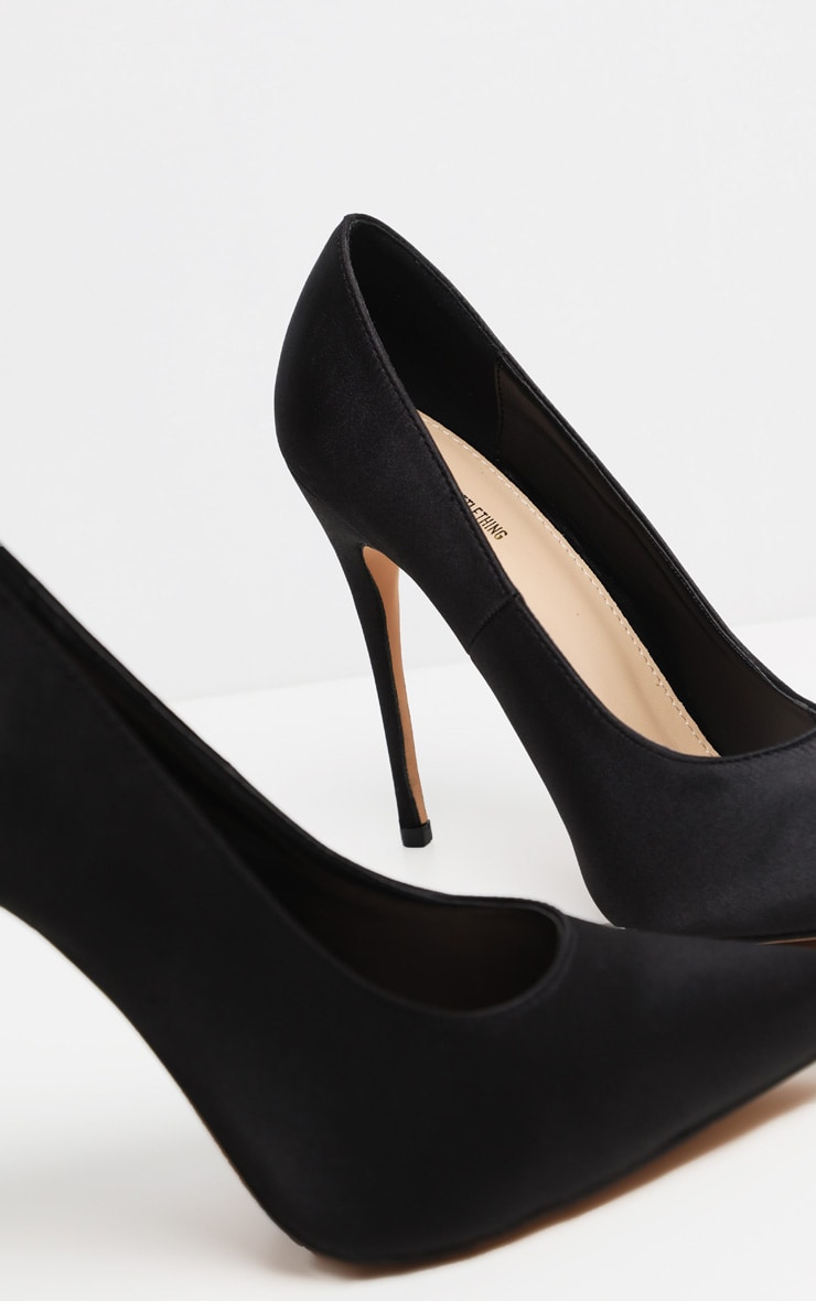 Black Satin Court Shoes 4