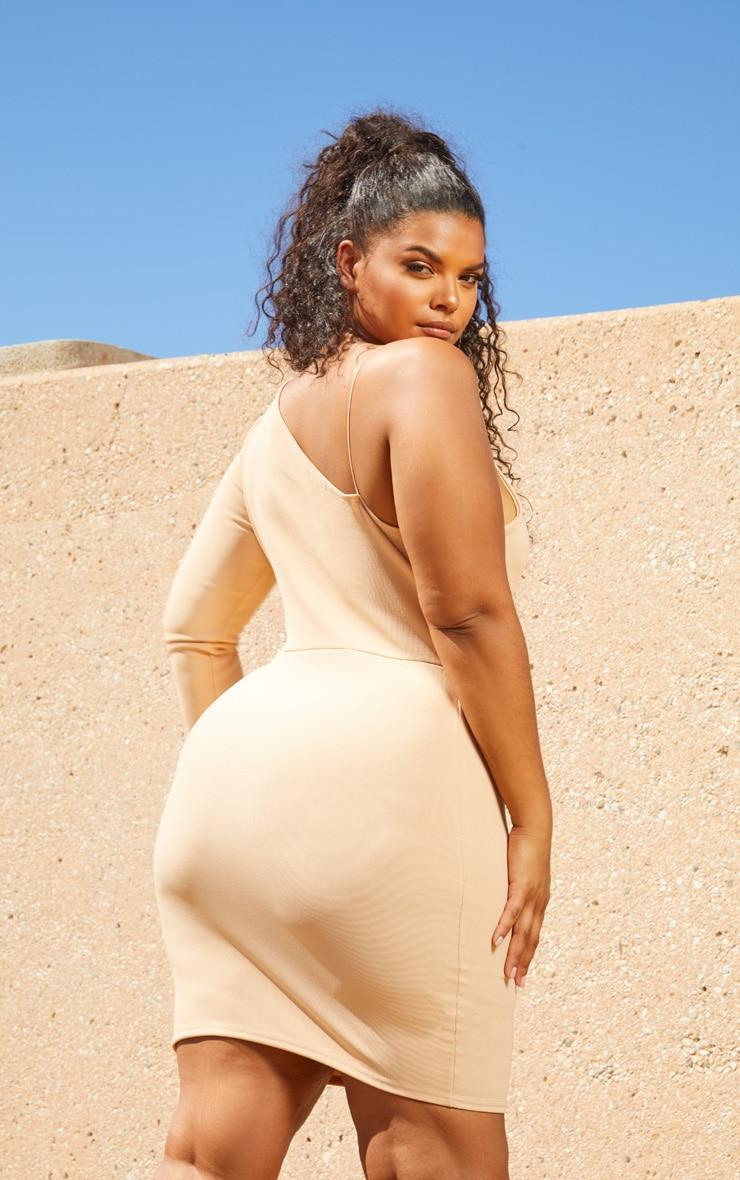 Plus Nude Second Skin Asymmetric Strap Bodycon Dress 2