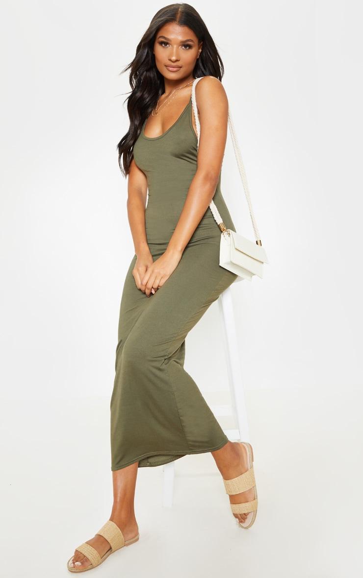 Khaki Vest Drop Arm Hole Maxi Dress 3