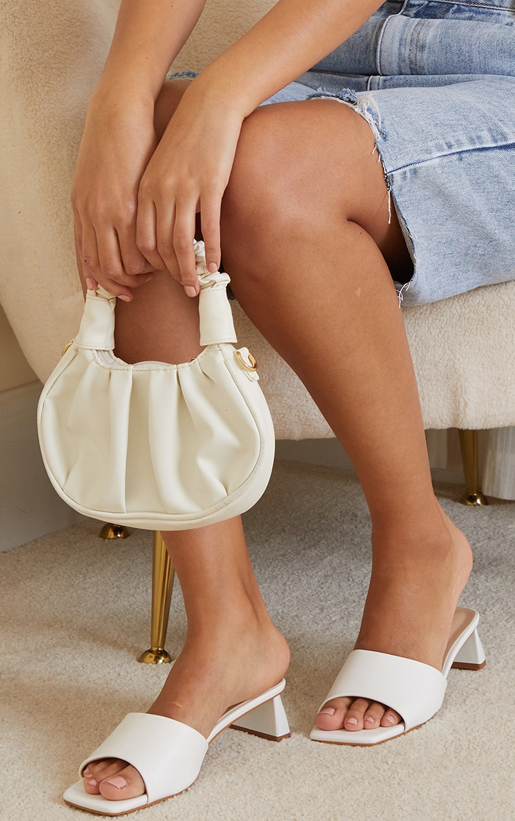 White Low Block Flare Heel Mules image 2