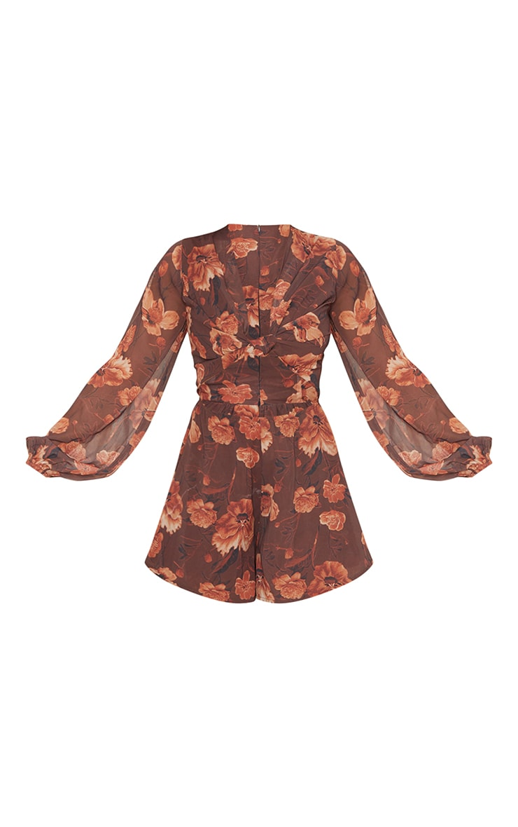 Chocolate Floral Print Knot Bust Long Sleeve Romper 5