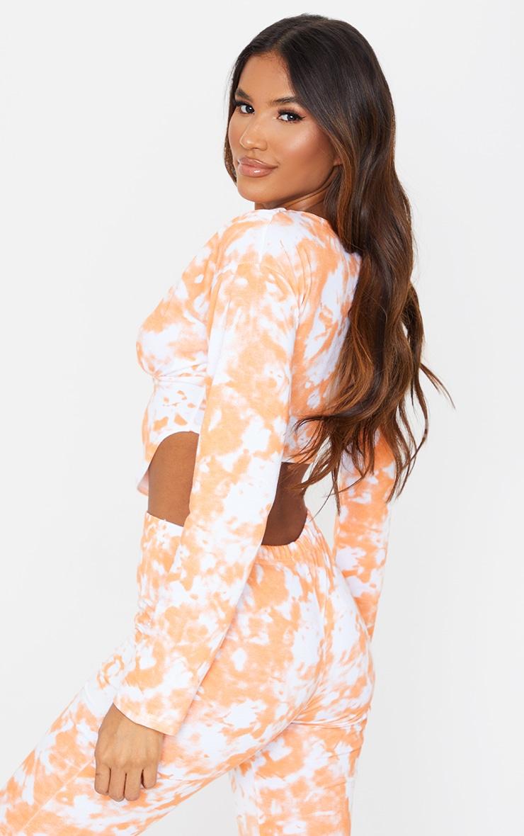 Orange Tie Dye Zip Front Corset Detail Long Sleeve Sweat Top 3