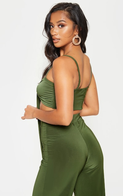 Petite Slinky Olive Green Strappy Tie Front Crop Top
