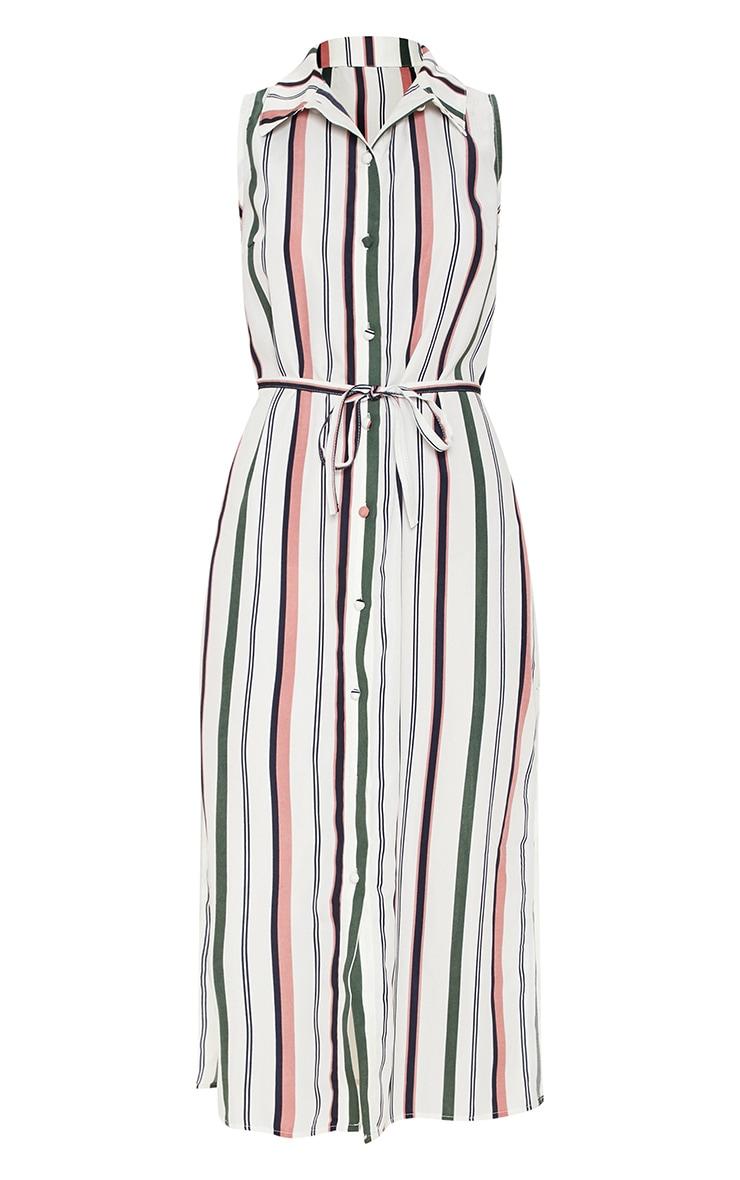 White Stripe Button Down Shirt Midi Dress 3