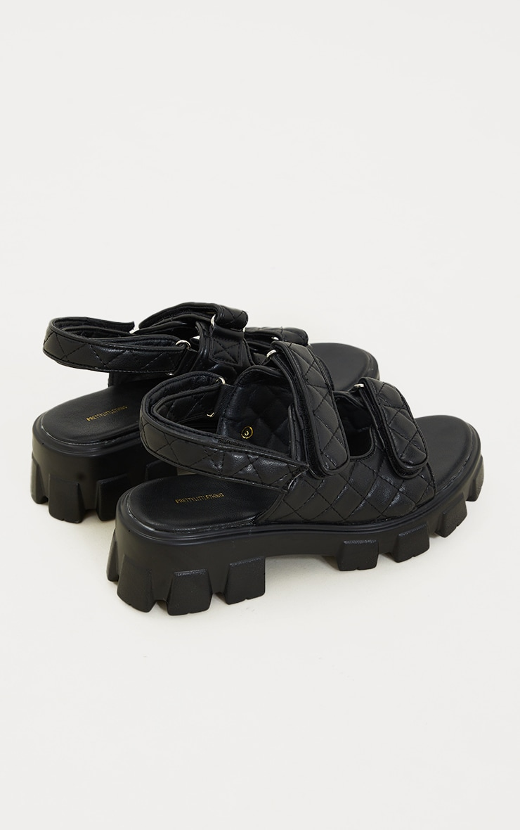 Black PU Quilted Velcro Strap Cleated Sole Sandals 4