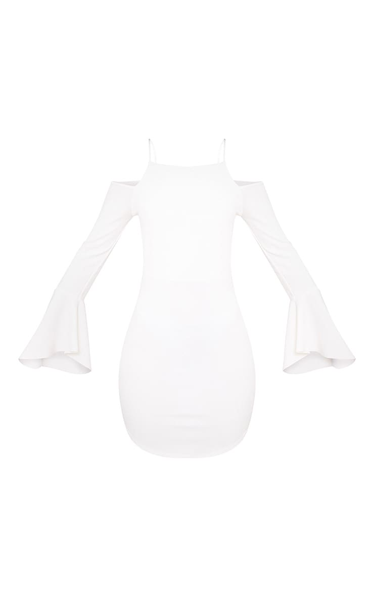 White Cold Shoulder Flared Sleeve Bodycon Dress 3