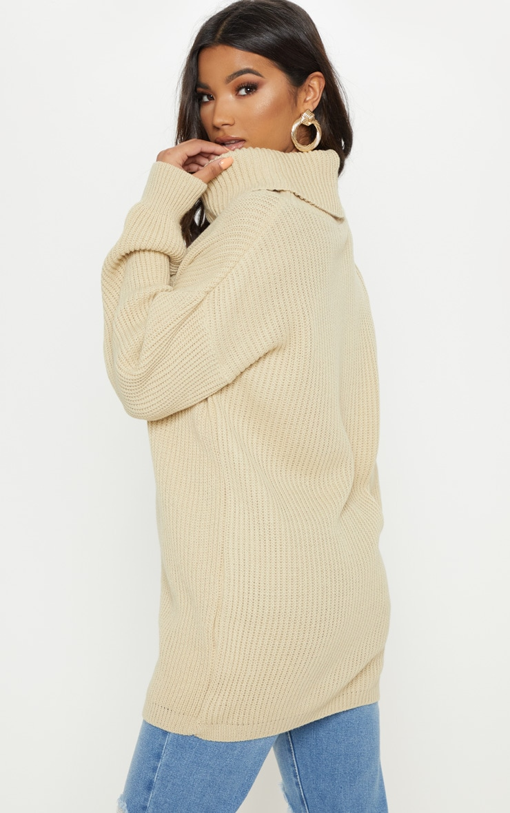 Chunky Knitted Roll Neck Stone Jumper 2