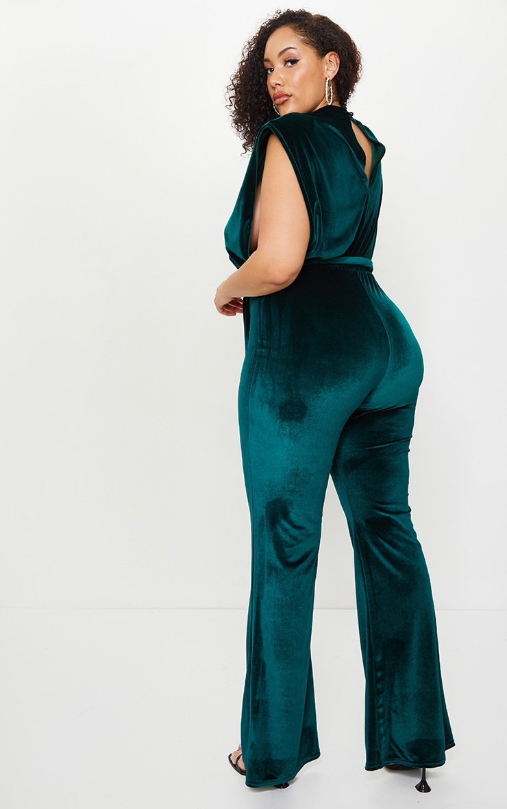 Plus Emerald Green Velvet Shoulder Pad Tie Waist Wide Leg Jumpsuit 2