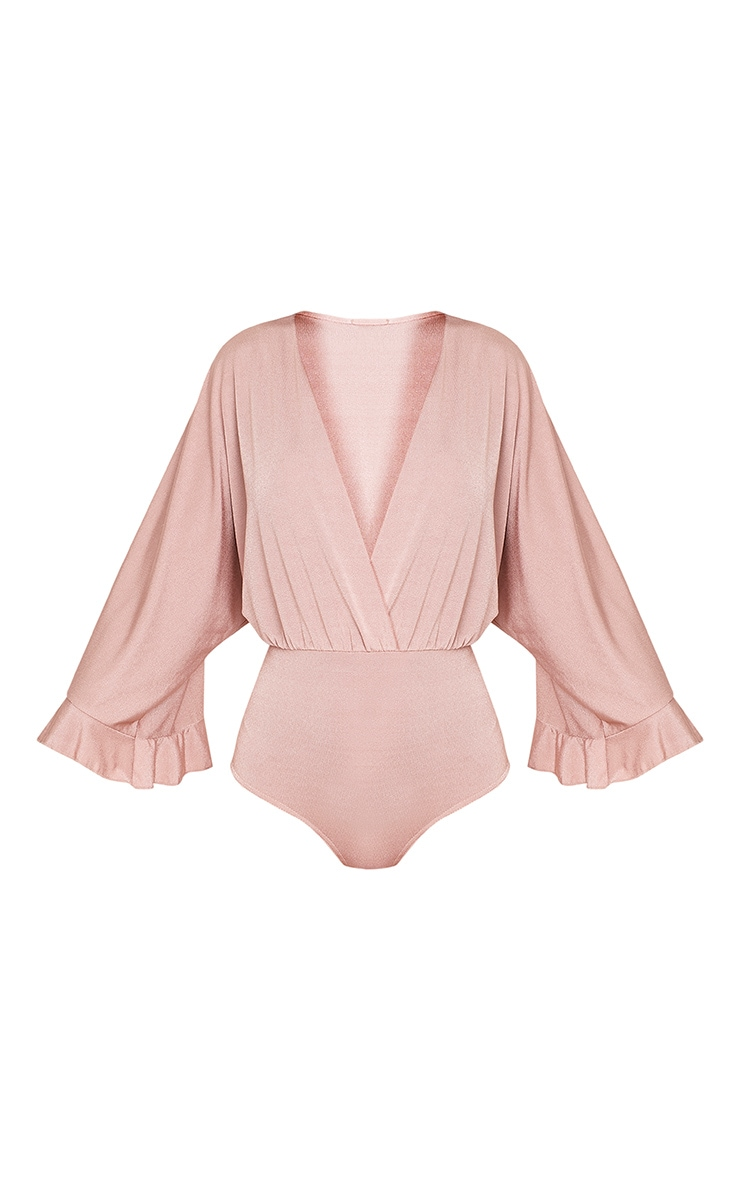 Taelyn Dusty Pink Slinky Shimmer Plunge Wide Sleeve Thong Bodysuit 3