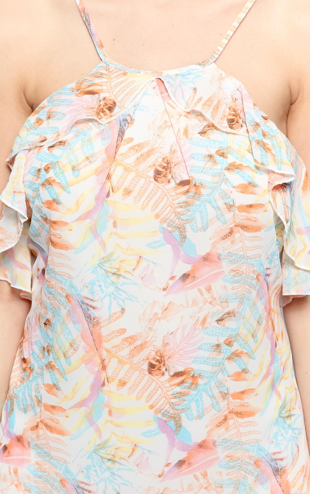 Serena Pastel Pink Tropical Print Chiffon Dress 4