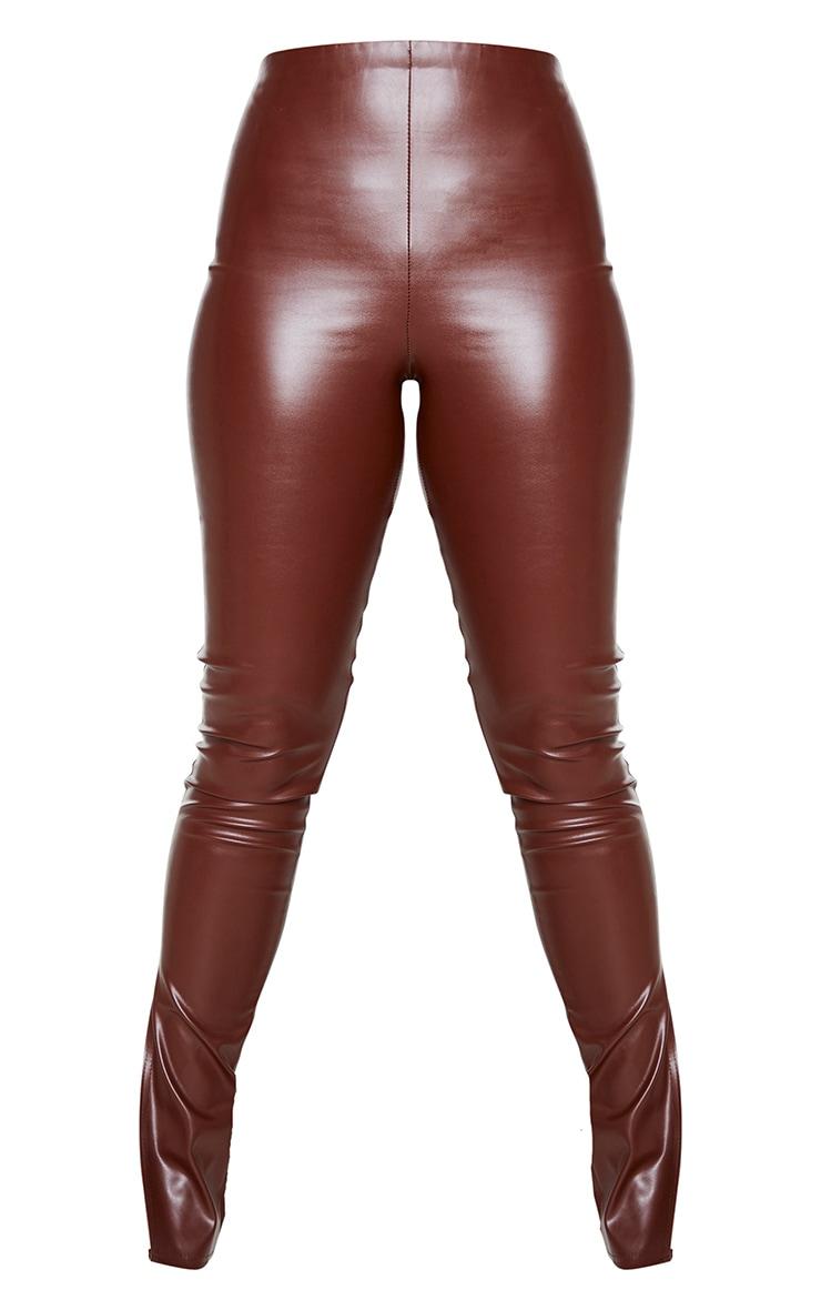 Chocolate Faux Leather Split Hem Leggings 5
