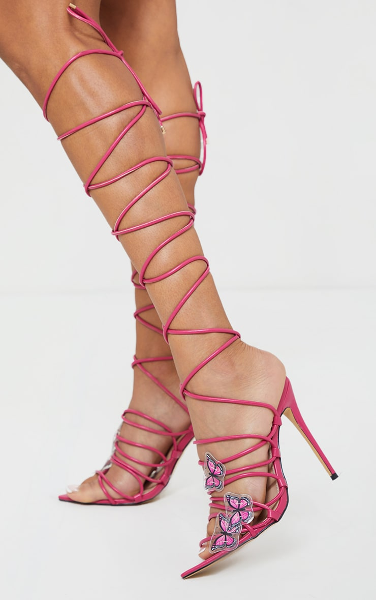 Pink Pu Butterfly Detail Lace Up Point Toe High Heels 2