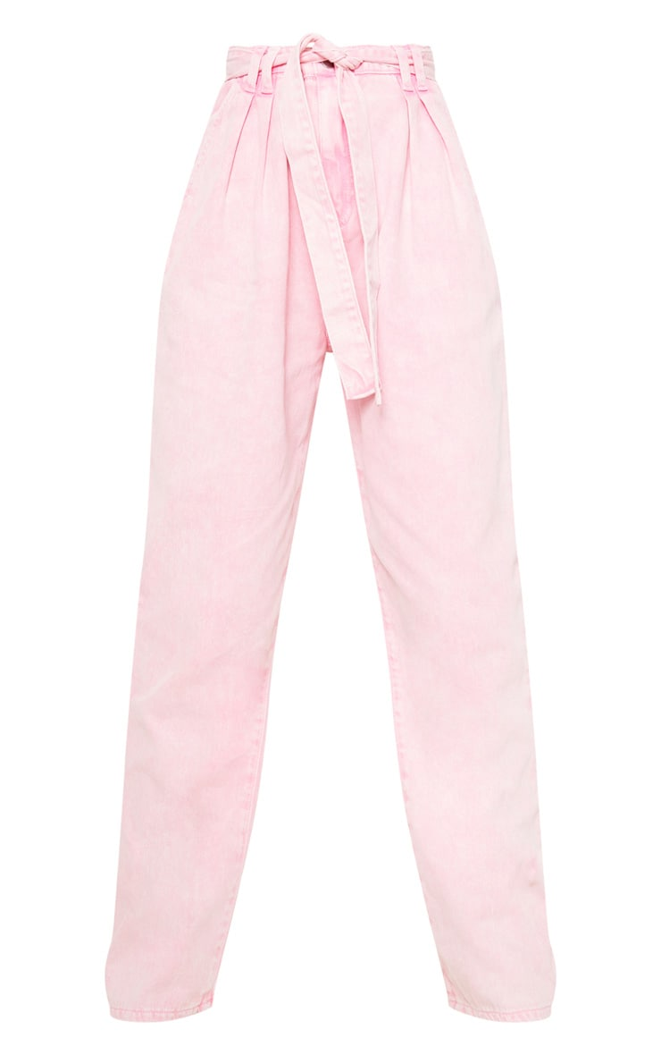 Acid Pink Belted Balloon Mom Jean 3