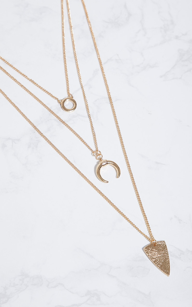 Gold Bull Horn Triple Layer Pendant Necklace  3