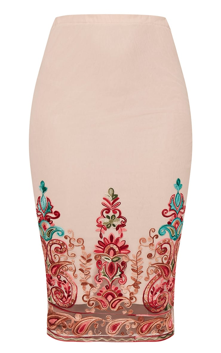 Kya Nude Embroidered Mesh Midi Skirt 4