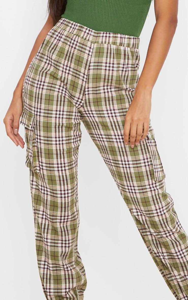 Khaki Check Pocket Detail Cargo Pants 5