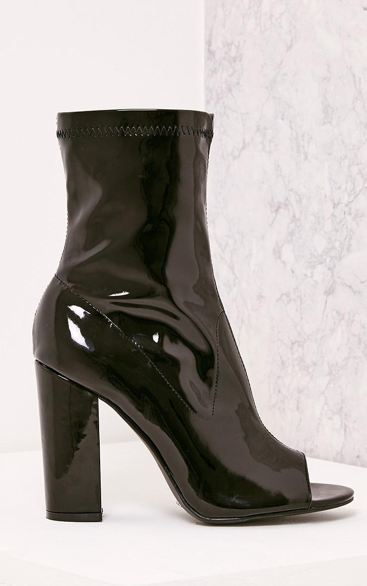 Malina Black Patent Peep Toe Heeled Ankle Boots 1