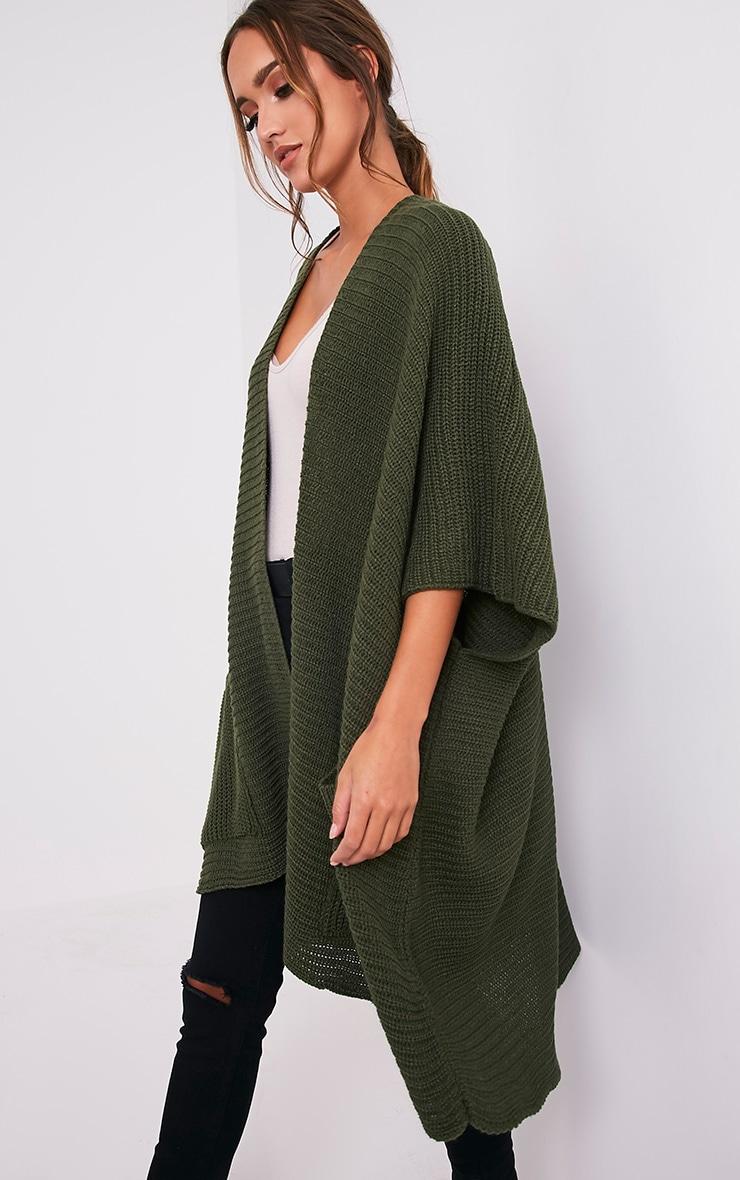 Yazmine Khaki Chunky Knit 3/4 sleeve Wrap Cardigan 3