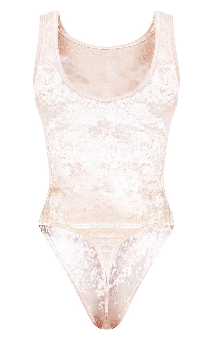 Champagne Crushed Velvet Tiger Print Bodysuit 5