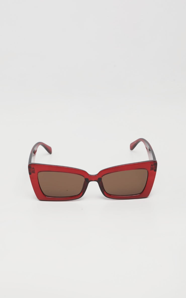Red Oversized Angular Square Sunglasses 2