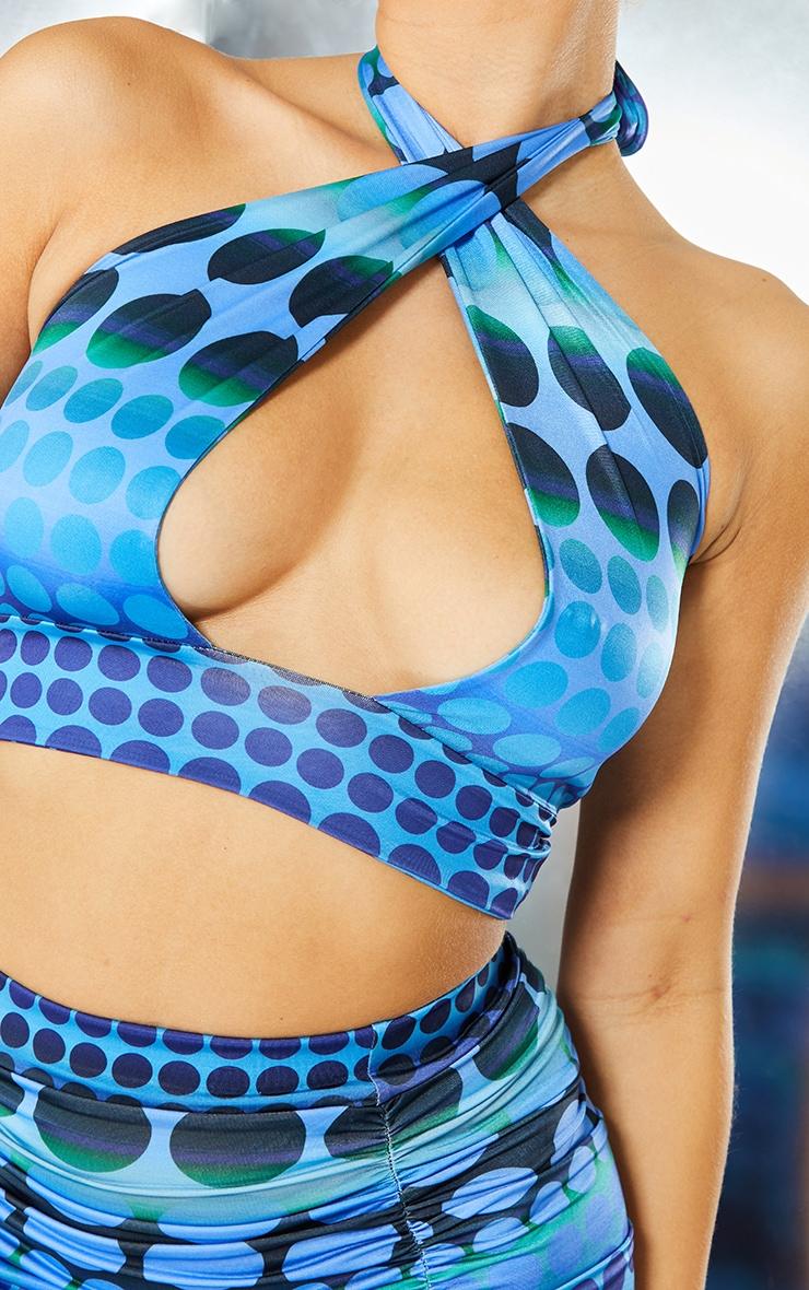 Bright Blue Swirl Print Slinky Cross Front Underbust Wrap Around Crop Top 4