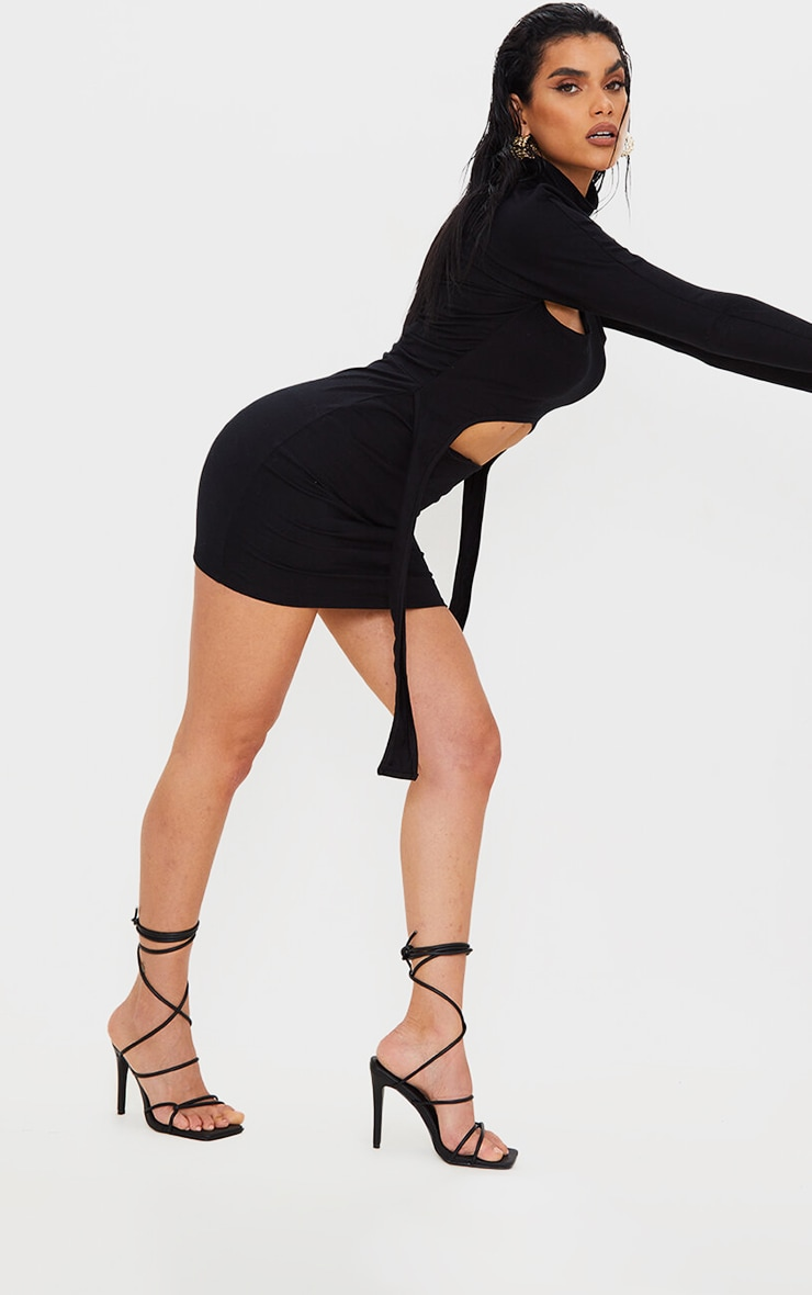 Black Wide Fit Tube Strappy Laces Up High Heels 1