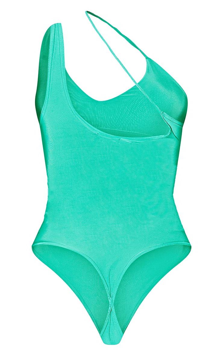 Bright Green Slinky Asymmetric Strap Bodysuit 6