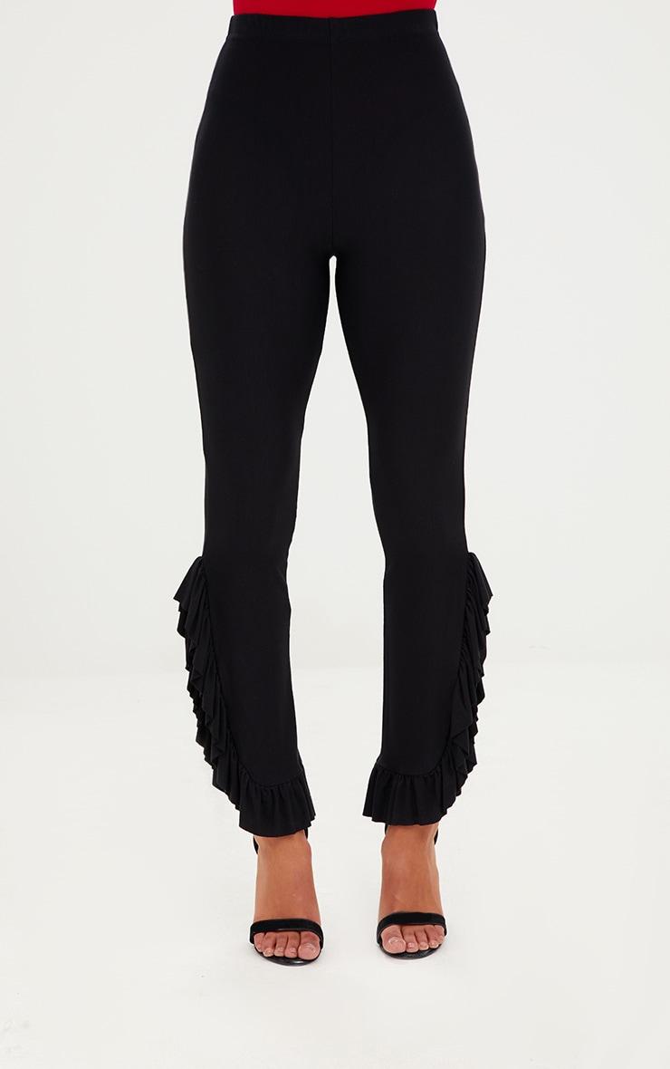 Petite Black Frill Leg Cropped Trousers 2