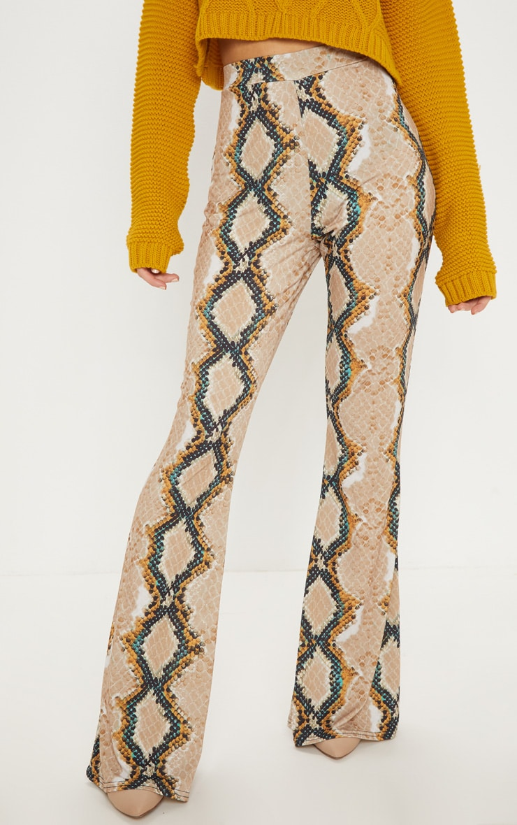 Stone Snake Printed Flared Trouser  2
