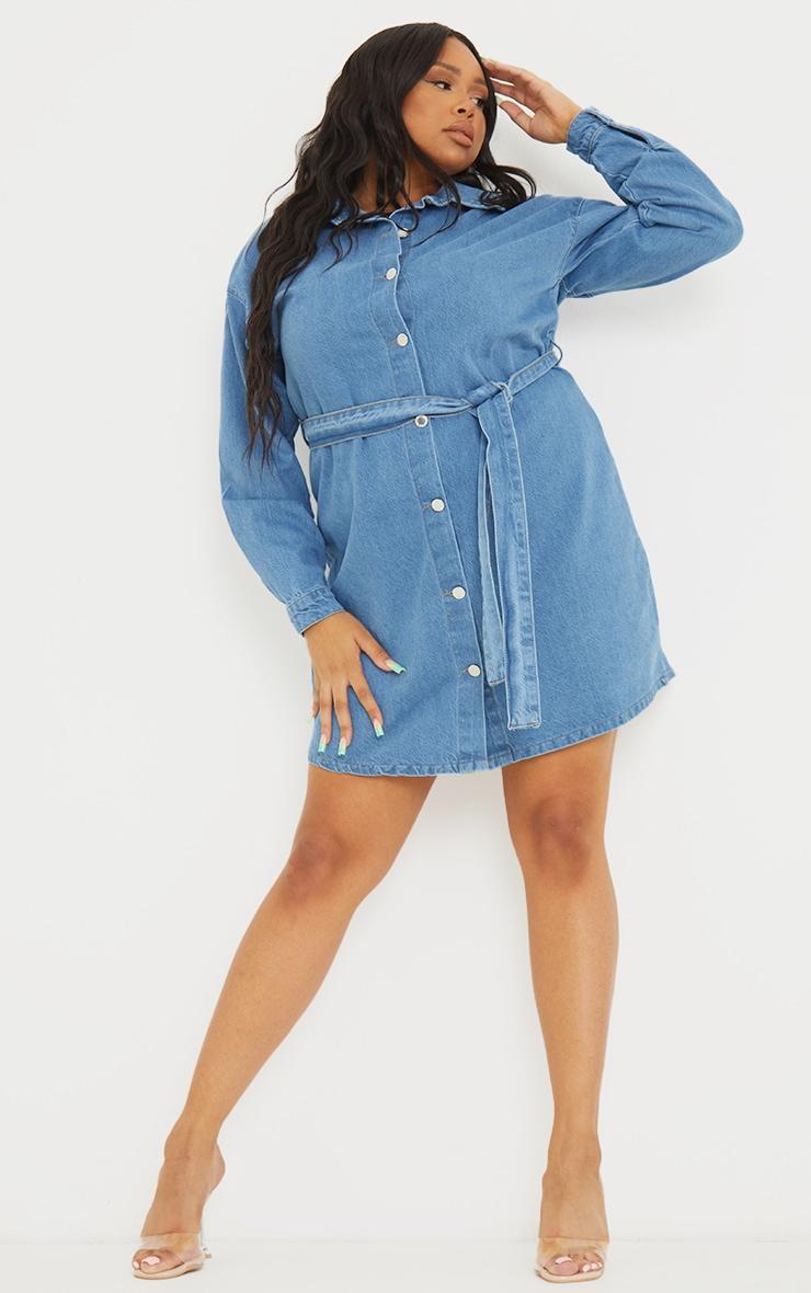 Plus Mid Wash Denim Long Sleeve Button Up Bodycon Dress 1